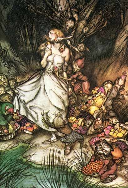 Rankin illustration of a girl gripped by goblins