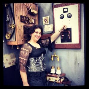 Judith B. Shields at the Frankenstein's Monster booth at Comicpalooza